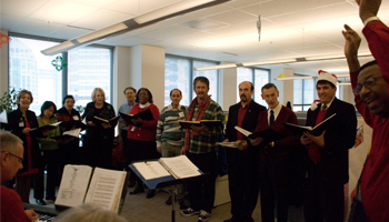 The UCOP Singers, led by Willie Archer, have performed at UCOP for 34 years.