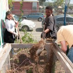 Students shovel dirt into a compost bin