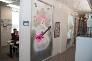 Holiday decorations on offices of Risk Services staff