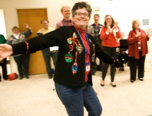 ANR's Jan Corlett celebrated in her holiday sweater