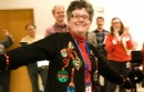 Jan Corlett in holiday sweater