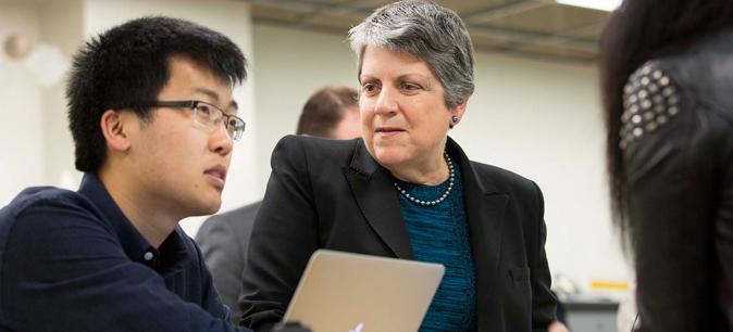 President Napolitano with UC Berkeley student