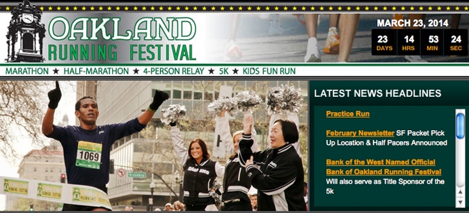 Screen grab from Oakland Running Festival website