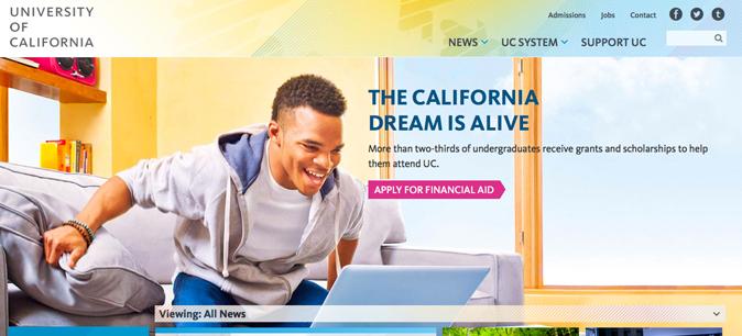 Top banner of new UCal website