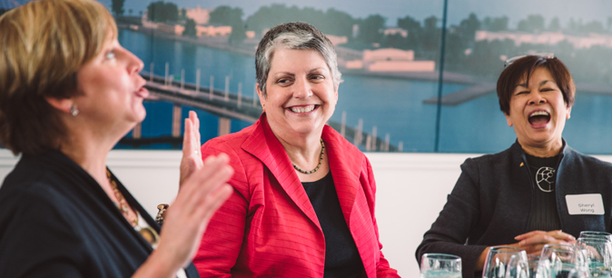 Pres. Napolitano at Oakland Museum lunch
