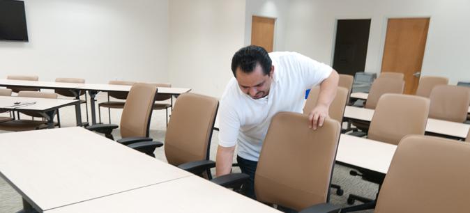 Juan Conrado setting up Lobby 1