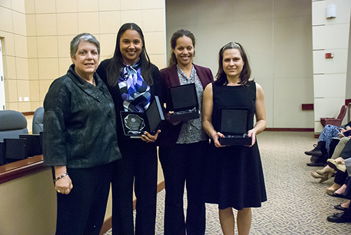 Candace Jones, Siena Sarmiento (HR) and Karla Wood (UC Health) were honored for their creation of a Linkedin group where UCOP employees can collaborate with colleagues.