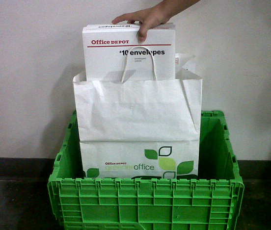 Greener office delivery bin and bag