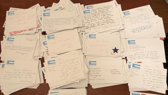A pile of gratitude grams