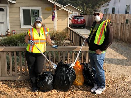 Ginny Delaney and her husband volunteer