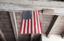 American flag hanging from rafter