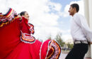 Woman and man wearing traditional Mexican dance costume
