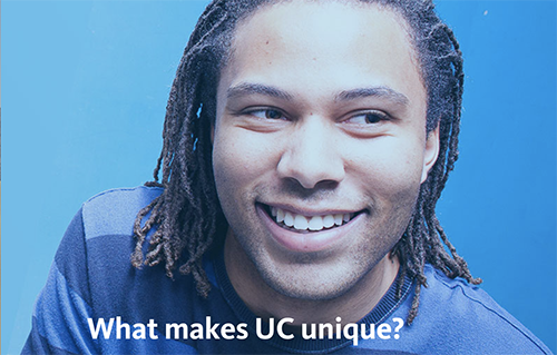 """Smiling college student with a header reading """"What makes UC unique?"""""""