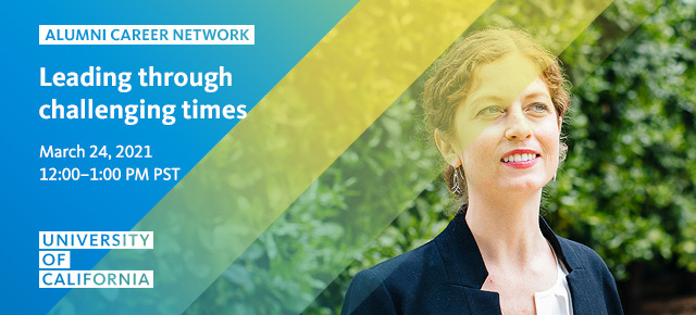 UC Alumni Career Network banner featuring woman standing by trees