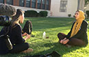 Woman interviewing another woman at UCLA