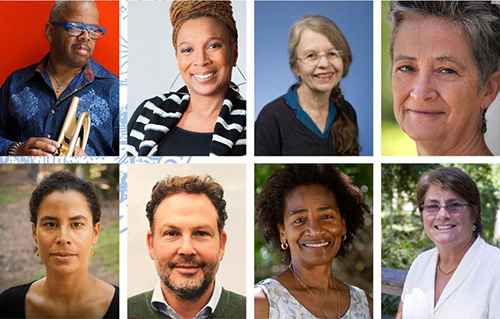 UCLA's newest members of the American Academy of Arts and Sciences. Top row, from left: Terence Blanchard, Kimberlé Crenshaw, Barbara Geddes and Elisabeth Le Guin. Bottom row, from left: Kelly Lytle Hernández, Daniel Posner, Marilyn Raphael and Victoria Sork. (Photo by UCLA)