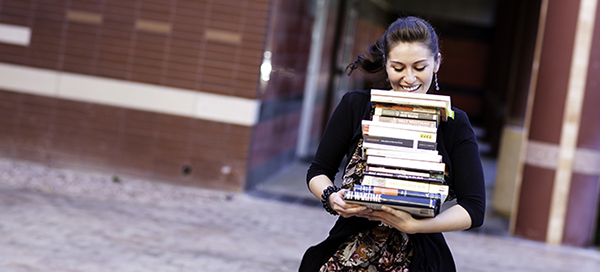 Student carrying books