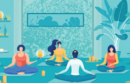 Illustration of seated people doing yoga