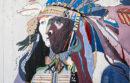 Mural depicting Native American
