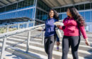 Two women walk at UC Merrced